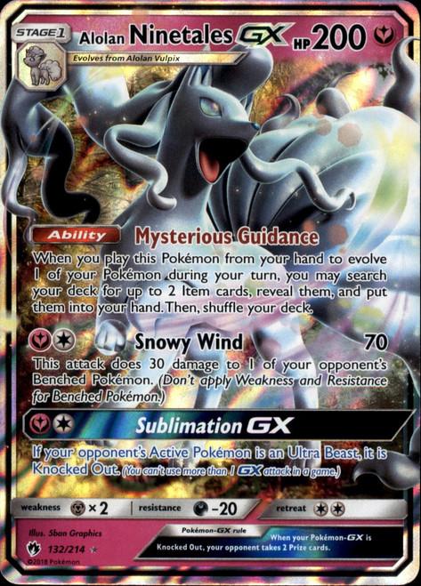 Pokemon Trading Card Game Lost Thunder Ultra Rare Alolan Ninetales GX #132
