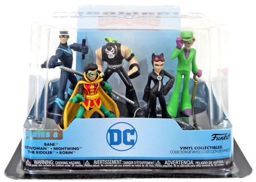 Funko DC Hero World Series 8 Bane, Catwoman, Nightwing, The Riddler & Robin Exclusive 4-Inch Vinyl Figure 5-Pack [Damaged Package]