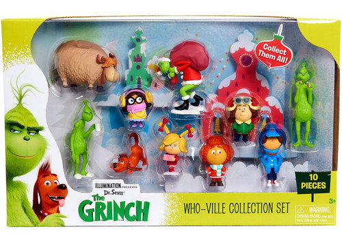 Dr. Seuss The Grinch Who-Ville Collection 4-Inch 10-Piece Figurine Set
