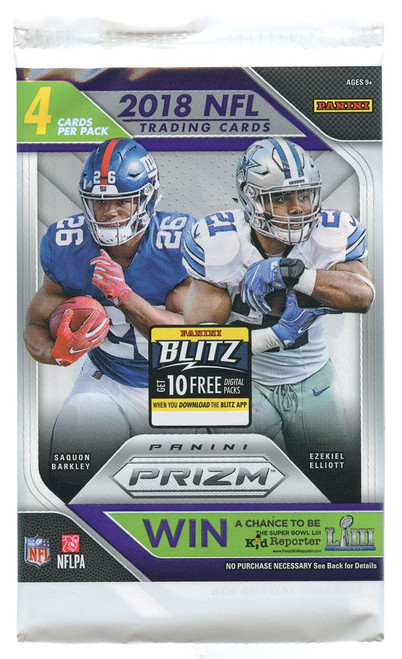 NFL Panini 2018 Prizm Football Trading Card Pack [4 Cards]