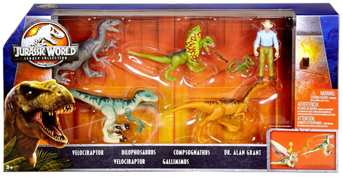 Jurassic World Fallen Kingdom Legacy Collection Dr. Alan Grant & Dinosaurs Exclusive Action Figure 6-Pack [Damaged Package]