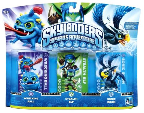 Skylanders Spyro's Adventure Wrecking Ball, Stealth Elf & Sonic Boom Figure 3-Pack [Damaged Package]