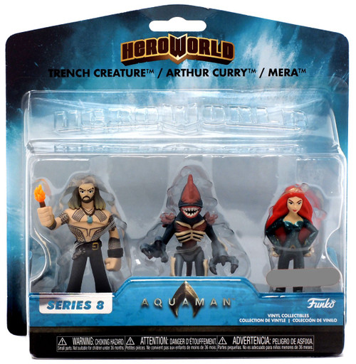 Funko DC Hero World Series 8 Trench Creature, Arthur Curry & Mera Exclusive 4-Inch Vinyl Figure 3-Pack