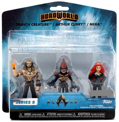 Funko DC Hero World Series 8 Trench Creature, Arthur Curry & Mera Exclusive 4-Inch Vinyl Figure 3-Pack
