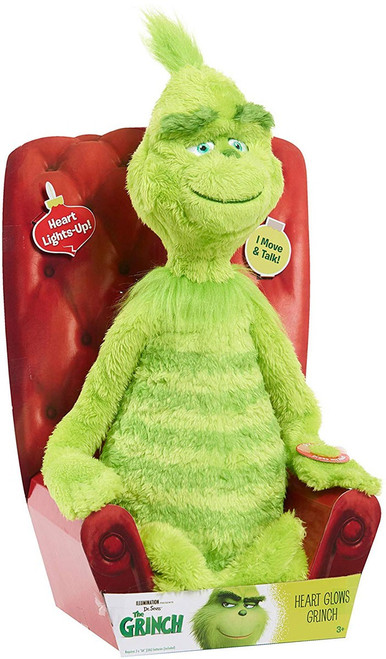 Dr. Seuss The Grinch Heart Glows Grinch 14-Inch Electronic Plush [Moves & Talks, Heart Lights Up!]