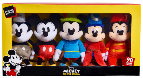 Disney Mickey the True Original 90 Years of Magic Mickey Mouse 8-Inch Plush 5-Pack