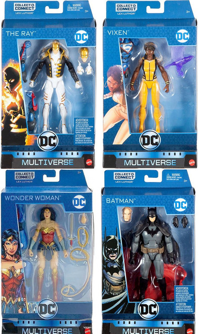 DC Multiverse Lex Luthor Series Batman, Wonder Woman, The Ray & Vixen Set of 4 Action Figures