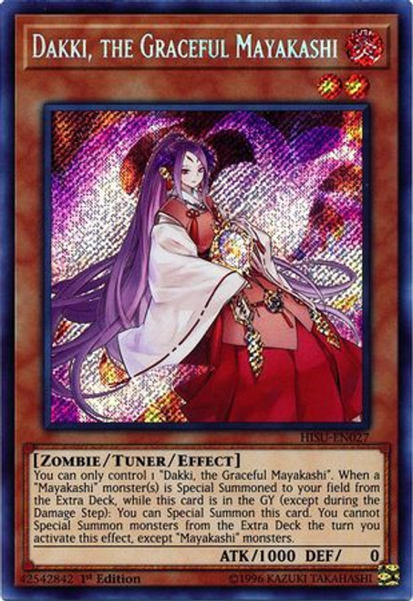YuGiOh Hidden Summoners Secret Rare Dakki, the Graceful Mayakashi HISU-EN027