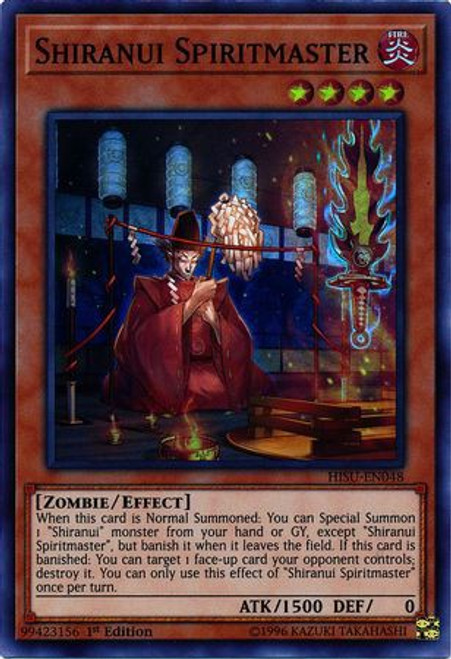 YuGiOh Hidden Summoners Super Rare Shiranui Spiritmaster HISU-EN048