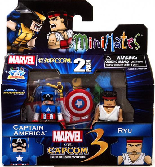 Marvel vs Capcom 3 Minimates Series 3 Captain America Vs. Ryu Minifigure 2-Pack