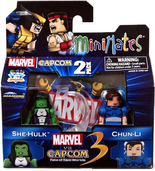 Marvel vs Capcom 3 Minimates Series 3 She Hulk vs. Chun Li Minifigure 2-Pack