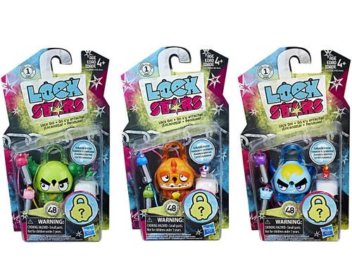Lock Stars Cactus, Blue Horned Monster & Orange Dinosaur Figure 3-Pack