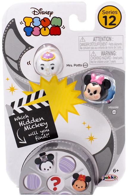 Disney Tsum Tsum Series 12 Mrs. Potts & Minnie 1-Inch Minifigure 3-Pack