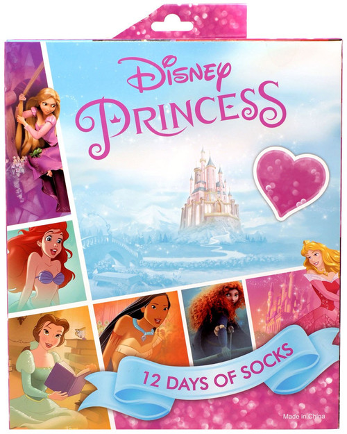 12 Days of Socks Kids Disney Princess 12-Pack [Shoe Size 9 - 2.5]