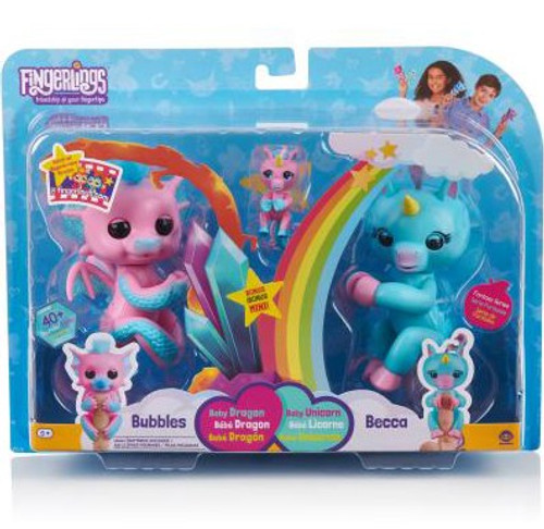 Fingerlings Baby Dragon Bubbles & Becca with Bianca Figure 2-Pack