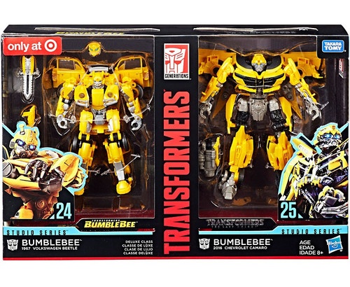 Transformers Generations Studio Series Bumblebee Exclusive Deluxe Action Figure 2-Pack #24 & 25 [1967 VW Beetle & 2016 Camaro]