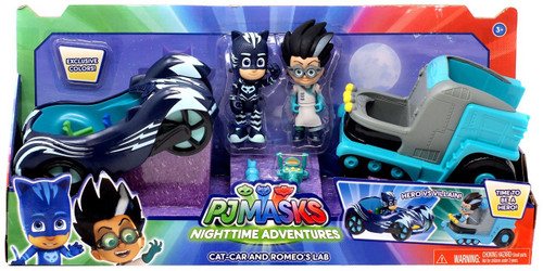 Disney Junior PJ Masks Nighttime Adventure Cat-Car & Romeo's Lab Exclusive Vehicle & Figure 2-Pack [Exclusive Colors!]