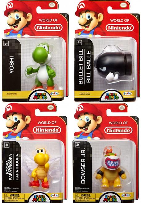 World of Nintendo Super Mario Yoshi, Koopa, Bowser Jr. & Bullet Bill 2.5-Inch Set of 4 Mini Figures