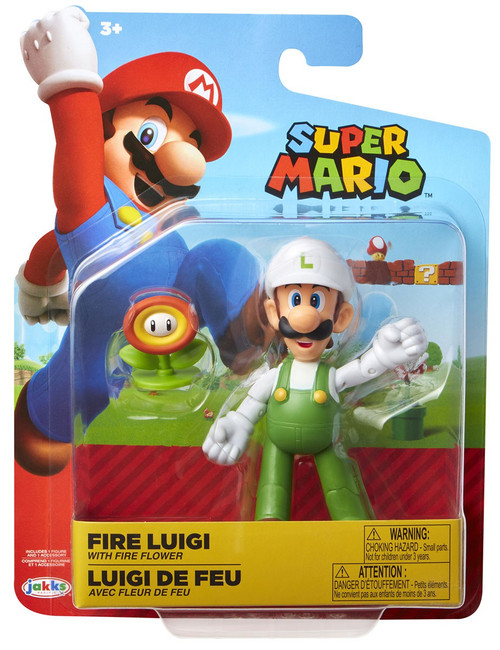 World of Nintendo Super Mario Wave 14 Fire Luigi Action Figure [with Fire Flower]
