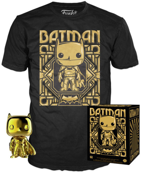 Funko DC Gold Batman Exclusive Vinyl Figure & T-Shirt [X-Large]