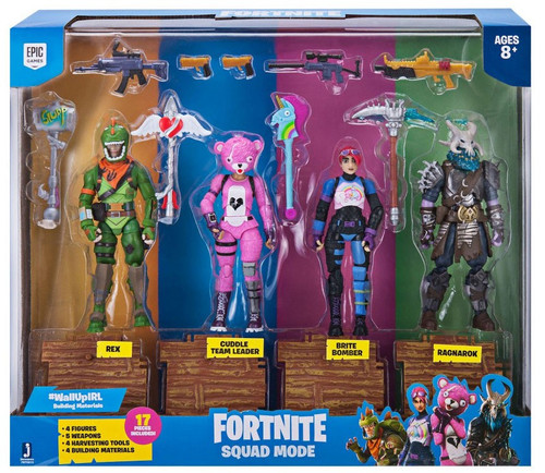 Fortnite Series 1 Ragnarok, Rex, Cuddle Team Leader & Brite Bomber Action Figure 4-Pack [Squad Mode]
