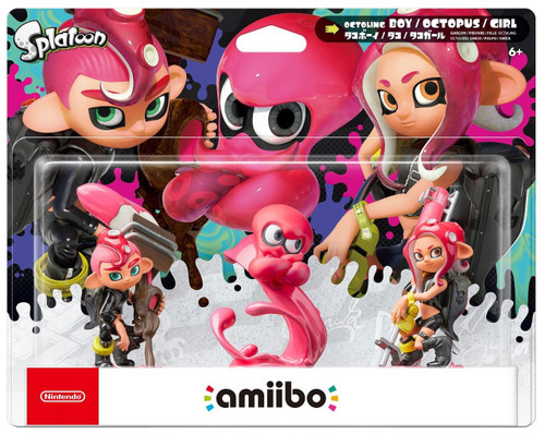 Nintendo Splatoon Amiibo Octoling Boy, Octopus & Octoling Girl Mini Figure 3-Pack