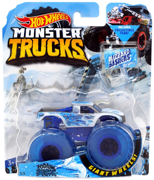 Hot Wheels Monster Trucks Blizzard Bashers Podium Crasher Diecast Car