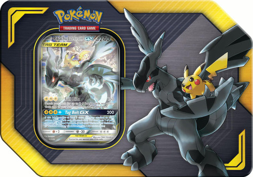 Pokemon Trading Card Game 2019 GX Tag Team Pikachu & Zekrom-GX Tin Set [4 Booster Packs & Promo Card!]