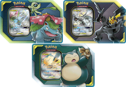Pokemon Trading Card Game 2019 GX Tag Team Pikachu & Zekrom-GX, Eevee & Snorlax-GX, Celebi & Venusaur-GX Set of 3 Tins