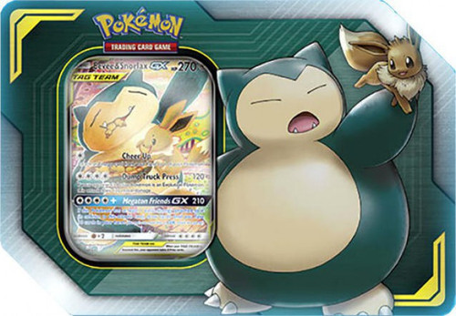 Pokemon Trading Card Game 2019 GX Tag Team Eevee & Snorlax-GX Tin Set [4 Booster Packs & Promo Card!]