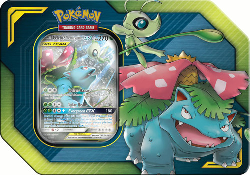 Pokemon Trading Card Game 2019 GX Tag Team Celebi & Venusaur-GX Tin Set [4 Booster Packs & Promo Card!]