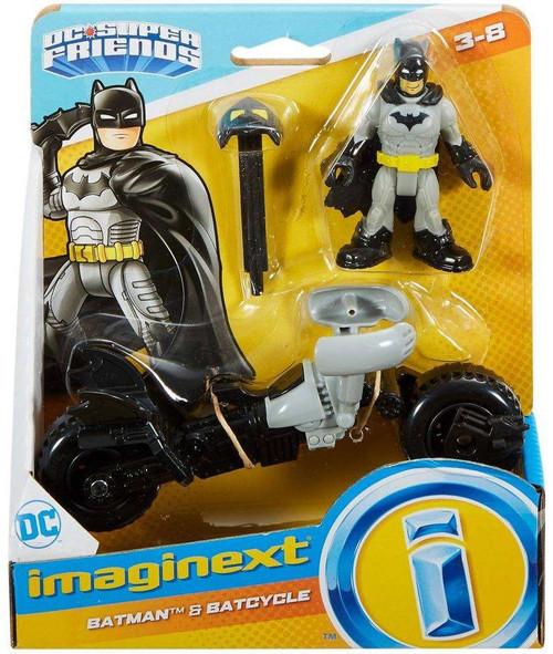 Fisher Price DC Super Friends Imaginext Batman & Batcycle 3-Inch Figure Set [Grey & Black]