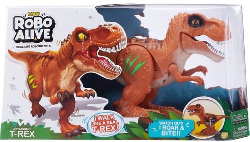 Robo Alive Attacking T-Rex Robotic Pet Figure [Brown]