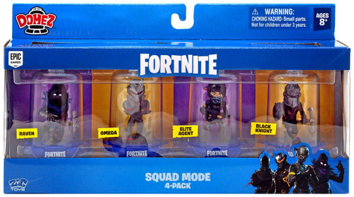 Domez Fortnite Series 1 Raven, Omega, Elite Agent & Black Knight Mini Figure 4-Pack