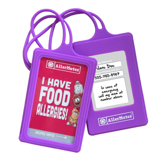 AllerMates Set of Food Allergies Kids Medical ID Allergy Tags: PURPLE - Write In Your Info Allergy Tags