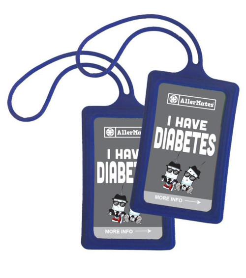 AllerMates Diabetes Medical ID Tag Set: Gray/Blue - Personalize your info! Medical Alert Bracelet for Kids