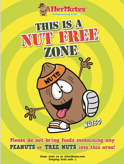 "AllerMates Nut Free Zone School Allergy Safety Poster 18""x24 Poster"