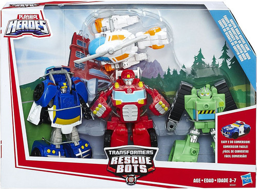 Transformers Playskool Heroes Rescue Bots Griffin Rock Rescue Team Action Figure 4-Pack [Boulder, Blades, Heatwave & Chase, Damaged Package]