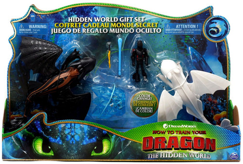 How to Train Your Dragon The Hidden World Toothless, Lightfury & Hiccup Exclusive Action Figure Gift Set 3-Pack