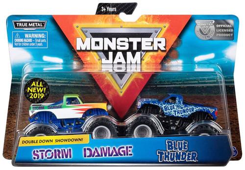 Monster Jam Double Down Showdown! Storm Damage & Blue Thunder Diecast Car 2-Pack