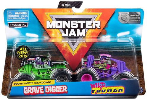 Monster Jam Double Down Showdown! Grave Digger & Wild Flower Diecast Car 2-Pack