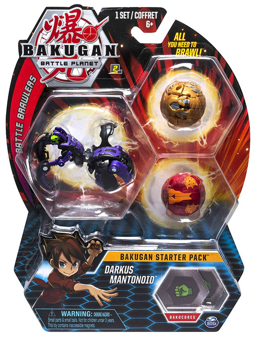 Bakugan Battle Planet Battle Brawlers Starter Pack Darkus Mantonoid 3-Figure Set