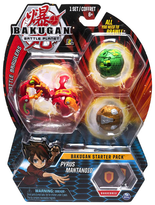 Bakugan Battle Planet Battle Brawlers Starter Pack Pyrus Mantanoid 3-Figure Set