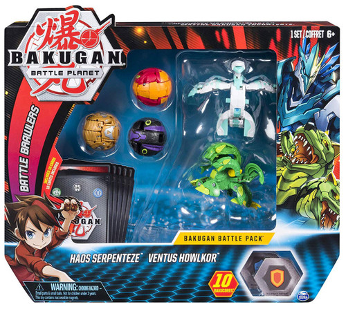 Bakugan Battle Planet Battle Brawlers Haos Serpenteze & Ventus Howlkor Battle Pack