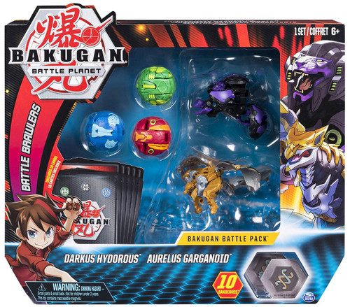 Bakugan Battle Planet Battle Brawlers Darkus Hydorous & Aurelus Garganoid Battle Pack