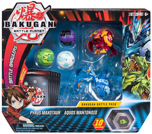 Bakugan Battle Planet Battle Brawlers Pyrus Maxotaur & Aquos Mantonoid Battle Pack