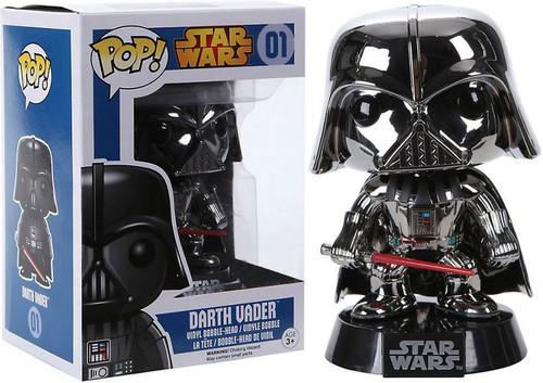 Funko POP! Star Wars Darth Vader Exclusive Vinyl Bobble Head #01 [Chrome Variant Damaged Package]