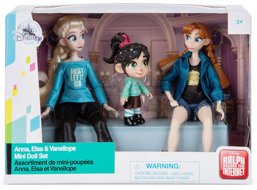 Disney Wreck-It Ralph 2: Ralph Breaks the Internet Anna, Elsa & Vanellope Mini Doll Set