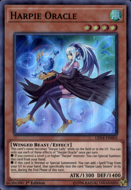 YuGiOh Legendary Duelists Sisters of the Rose Super Rare Harpie Oracle LED4-EN002