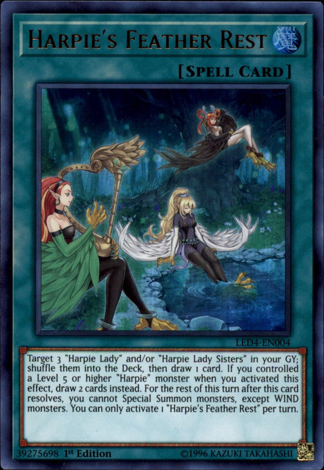 YuGiOh Legendary Duelists Sisters of the Rose Ultra Rare Harpie's Feather Rest LED4-EN004